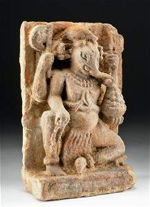 15th C. Indian Stone Ganesha Relief Carving