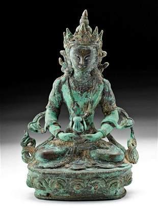 Stunning Tibetan Brass w/ Gilt Amitayus Buddha
