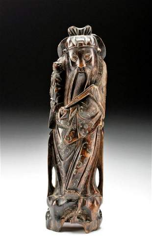 18th C. Chinese Wood Standing Figure w/ Brass Inlay