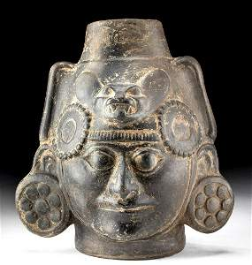 Moche Pottery Portrait Vessel w/ Zoomorphic Headdress