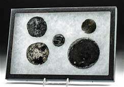 Lot of 5 Colima Obsidian Mirrors