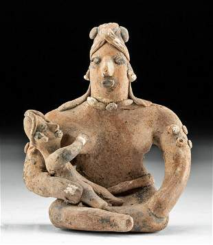 Colima Pottery Seated Woman & Child