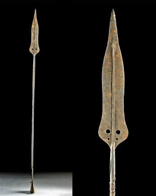 19th C. African Kuba Iron Spear Currency w/ Cowbell