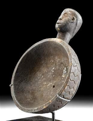 19th C. Indonesian Wood Bowl w/ Ancestor Head