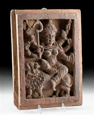 19th C. Indian Wood Panel Goddess Durga w/ Lion
