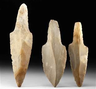 Lot of 3 Maya Knapped Chert Daggers