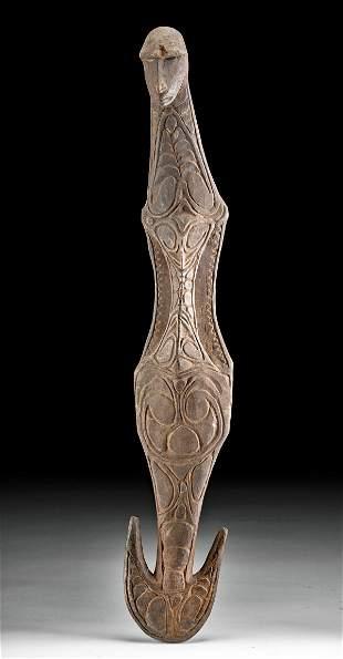 20th C. Papua New Guinea Sepik Wood Ancestor Hook