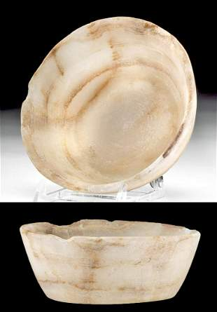 Egyptian Late Dynastic Alabaster Offering Bowl