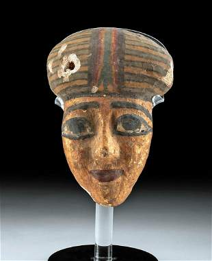 Egyptian Late Dynastic Polychrome Wood Mask