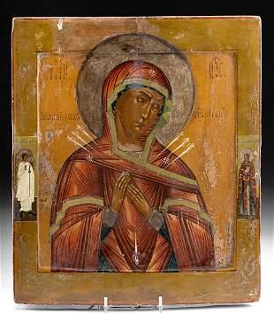 19th C. Russian Icon Virgin Theotokos w/ 7 Arrows