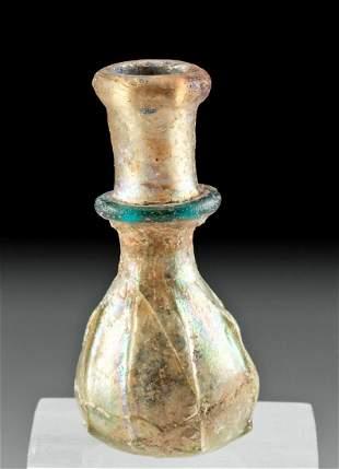 Miniature Roman Glass Bottle w/ Rainbow Iridescence
