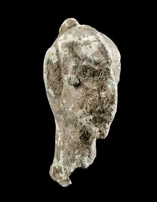Roman Lead Ampulla - Human Head Form