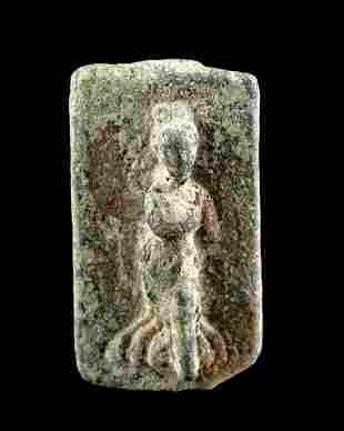 Roman Leaded Bronze Seal Box Lid w/ Female Figure