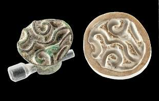 Bactrian Bronze Stamp Seal w/ Abstract Design