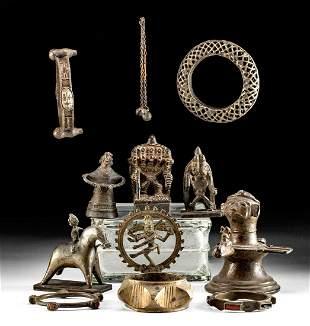 11 Antique Indian Brass Assortment Statues & Bangles