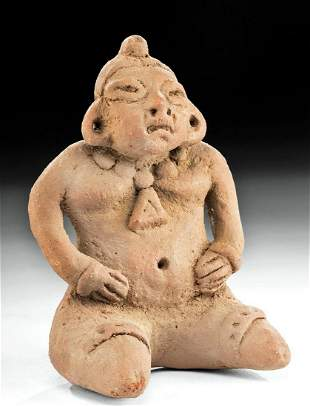 Costa Rican Pottery Seated Pregnant Figure