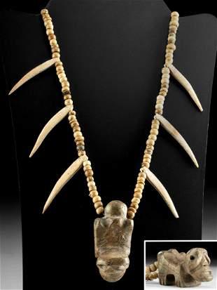 Mixtec Bone Bead Necklace w/ Zoomorphic Stone Pendant