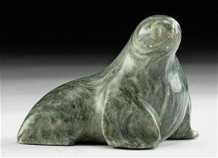20th C. Alaskan Yupik Stone Sea Lion Figure - Bekoalook