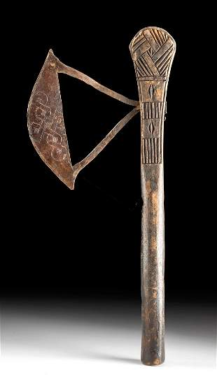 20th C. African Songye Wood & Copper Prestige Axe