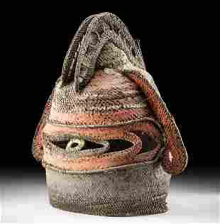 Early 20th C. Papua New Guinea Woven Fiber Yam Mask