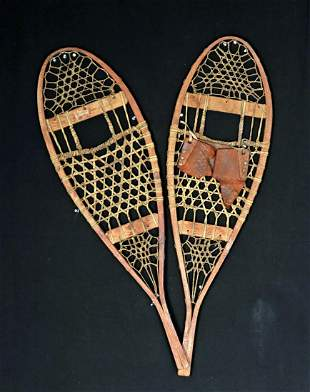 Early 20th C. American Wood & Leather Child's Snowshoes