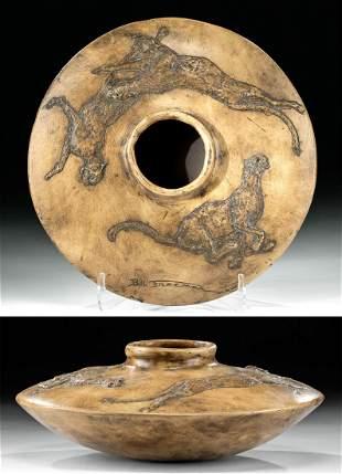 Signed Bill Freeman Pottery Vessel w/ Bobcats