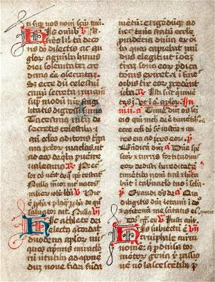 15th C. French Illuminated Breviary Page
