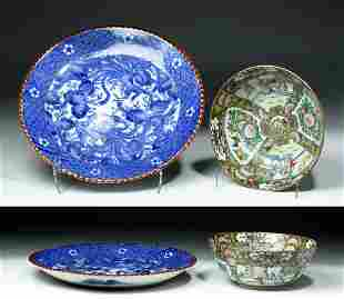 China Exportware Porcelain Charger & Famille Rose Bowl
