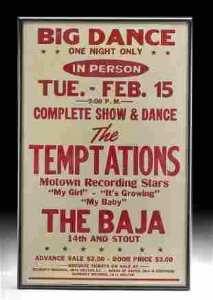 Framed Vintage Temptations Show Poster, 1960s