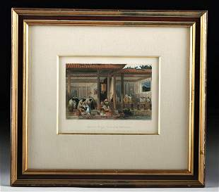 Framed 19th C. Allom Engraving - Chinese Wedding Gifts