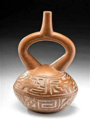 Moche Pottery Stirrup Vessel Abstract Zoomorphs