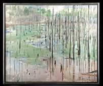 "Exhibited W. Draper Painting - ""Georgia Swamp"" 1970s"