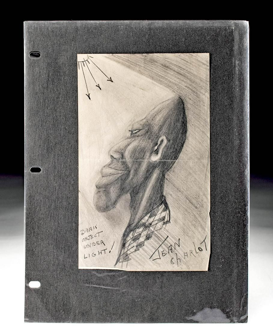 Signed Jean Charlot Drawing of Black Man, ca. 1930s