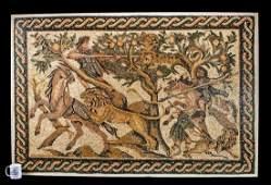 Stunning & Huge Roman Stone Mosaic w/ Hunting Scene
