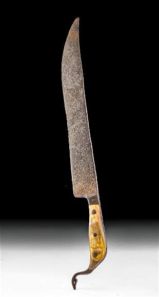 Massive 19th C. American Steel Knife w/ Bone Handle