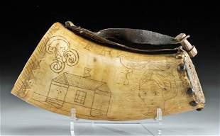 19th C. Scrimshaw Buffalo Powder Horn