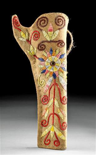 20th C. Sioux Leather & Fiber Embroidered Holster