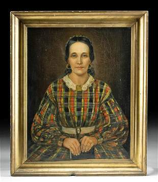 Framed Antique Portrait of a Woman of Lee Family