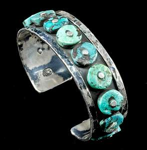 Vintage Mexican Silver & Turquoise Cuff Bracelet