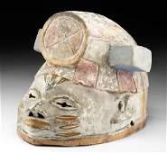 Early 20th C. Yoruba Polychrome Wood Gelede Helmet Mask