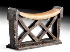 Mid 20th C. Zulu Wood Headrest w/ Openwork Design