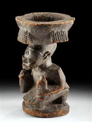 Early 20th C. African Yoruba Figural Wood Bowl