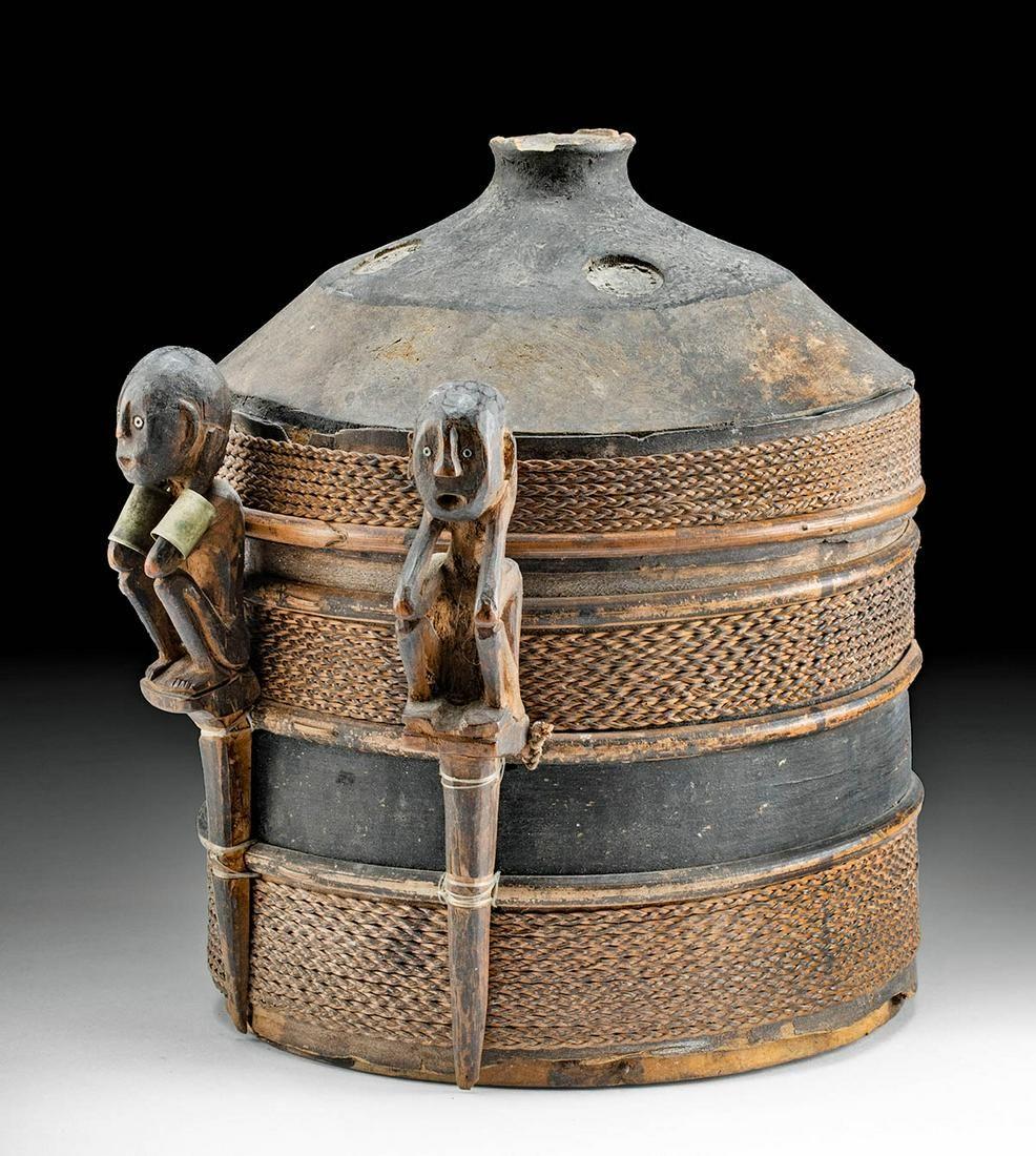 19th C. Dayak Wood, Rattan, & Nickel Brass Shaman's Box