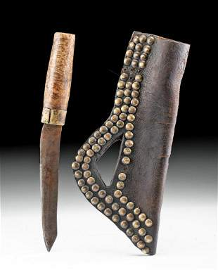 19th C. American Steel Knife w/ Leather Tacked Sheath