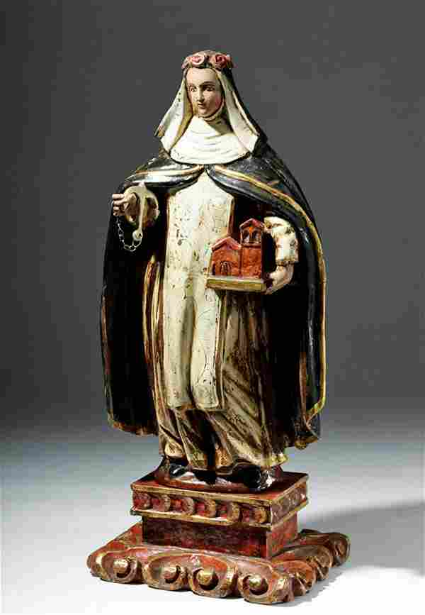 """18th C. Spanish Colonial Santo Rose of Lima 26""""H"""
