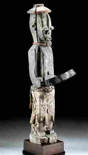 Tall 20th C. African Ijo Wood Bush Spirit, ex-Sotheby's
