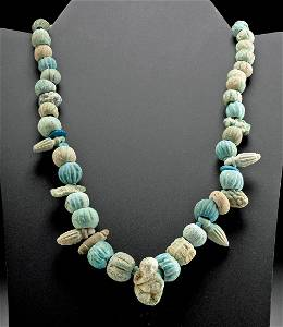 Egyptian Faience Bead Necklace w/ Figural Pendant