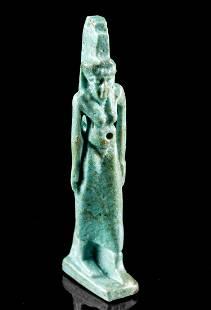 Egyptian Glazed Faience Striding Isis Amulet