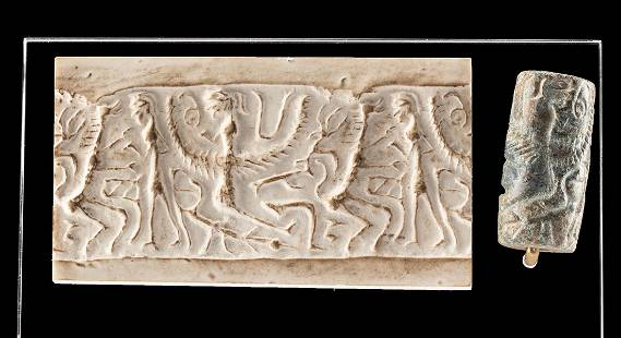 Greek Cypriot Stone Cylinder Seal - Abstract Figures