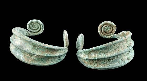 Pair of Greek Thracian Bronze Cuff Bracelets w/ Spirals
